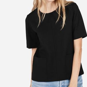 Everlane ponte black double pockets blouse top